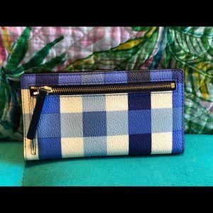 kate spade Bags - Kate Spade blue gingham shoulder purse and wallet